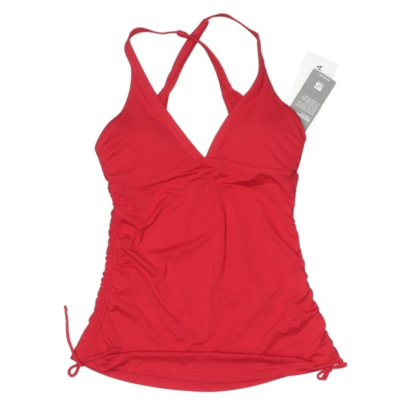 NWT Athleta Side Scrunch Swim Tankini Radiant Red